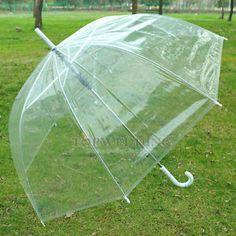 Transparent Regenschirm Hochzeit Braut Sonne Regen Durchsichtig Stock Schirm