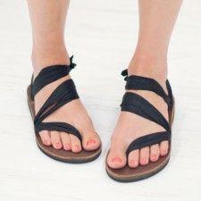 Black Silk Sandals Front