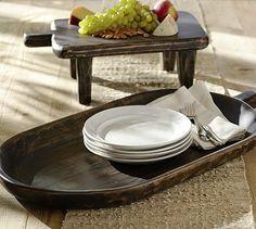 Espresso Wood Cutting Board Style Pedestal #potterybarn would look so good on my island