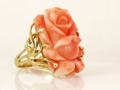 Yellow 14 Karat Ring Size 8 With One Rose Cut Coral | Women's Colored Stone Rings from Studio 2015 | Woodstock, IL