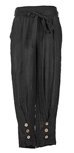 Ladies Womens Italian Lagenlook Quirky 3 Wooden Button Tie Belt Pocket Boho Linen Harem Ali Baba Trouser Pants Leggings Joggers One Size (One Size, Black): Amazon.co.uk: Clothing