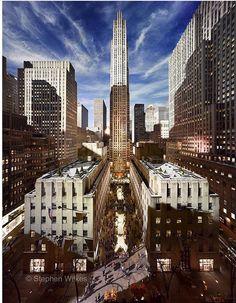 Tòa nhà Rockefeller Center, New York. Fine Art Photography Galleries, Photography Day, Amazing Photography, Rockefeller Center, Newbury Street Boston, A New York Minute, Concrete Jungle, Night Time, San Francisco Skyline