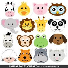 This item is unavailable : Animal Faces Clipart, Cute Farm Animals Clip Art, Animal Clipart, Barn Clipart, Jungle Animals Digit Jungle Animals, Farm Animals, Cute Animals, Jungle Theme Birthday, Safari Theme, Animal Heads, Animal Faces, Preschool Crafts, Crafts For Kids