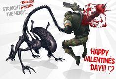 Alien vs Colonial Marine Valentine's Day Card [Xenomorph Love]
