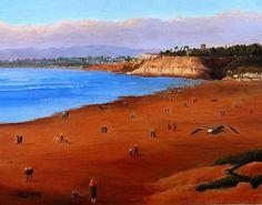 """Autumn on the Beach"", oil on canvas panel, 11""x14"", by Katarzyna Lappin, www.katarzynalappin.com"