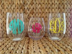 Personalized acrylic stemless wine glass by Dawlens on Etsy