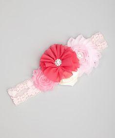 Light Pink & Ivory Flower Lace Headband