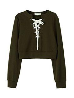 1a2c908ba71 Joeoy Women s Loose Striped Long Sleeve Crop Top Sweatshirt at Amazon Women s  Clothing store