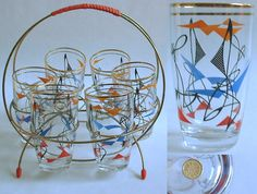 1950s vintage abstract art DRINKS GLASSES SET with wire stand atomic eames era