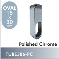 TUBE386-PC - Novara oval closet rod center support in Polished Chrome finish. This unique center support mounts to the under-side of a closet shelf working in conjunction with the TUBE385 Flange.  $5.50