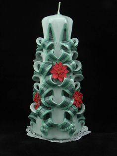 Check out this item in my Etsy shop https://www.etsy.com/listing/209080333/hand-carved-candle-green-white-christmas