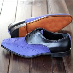 Party Wear Brogues Toe Wing Tip Blue Black Superior Leather Oxford Lace Up Shoes Handmade Upper made with Cow Leather Lining made with Cow Leather Sole made with Cow Leather Heel made with Cow Leather Custom Size and Design Option Av. Suede Oxfords, Suede Leather Shoes, Black Oxfords, Leather And Lace, Leather Men, Black Leather, Real Leather, Lace Up Shoes, Dress Shoes