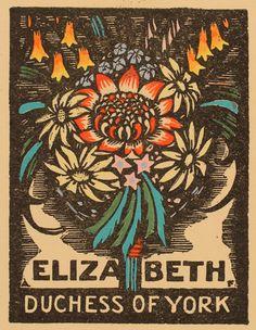 Ex Libris by Adrian Feint, for Elizabeth, Duchess of York (1927)