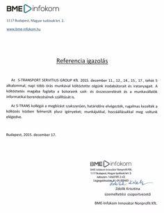 BME-Infokom, Zdolik Krisztina-üzemeltetési csoportvezető irodaköltöztetés után küldött köszönőlevele
