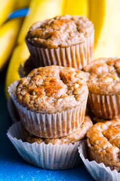 Healthy banana muffins recipe with applesauce, whole wheat flour and no sugar. Moist, easy, freezer friendly and an absolute hit with everyone!