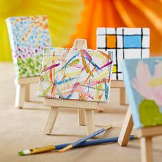 Art Party Idea: Mini Masterworks! Show the group some images of famous paintings (check the local library for coffee-table art books). Invite them to try making artwork in the style of their favorites, using acrylic paint and tiny canvases. Let the paintings dry, then display them on mini easels. (Canvases and easels are sold at craft stores.)