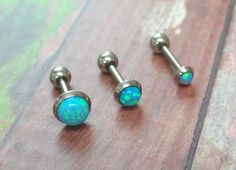 Turquoise Blue Fire Opal Stud Cartilage Earring Tragus Helix Piercing You Choose Stone Size Unique Body Piercings, Cute Piercings, Tragus Piercings, Barbell Piercing, Tragus Jewelry, Ear Jewelry, Jewlery, Pierre Turquoise, Cartilage Earrings
