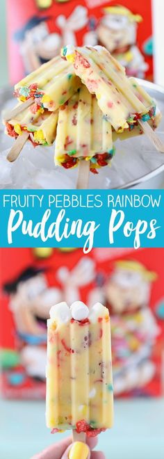 Fruity Pebbles Rainbow Pudding Pops with @PebblesCereal #PebblesCereal #sponsored