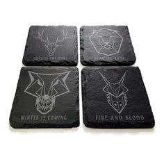A set of 4 in-house produced slate coasters inspired by the epic Game of Thrones.