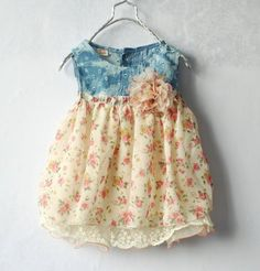 Retail New arrival baby girls denim chiffon hollow out mini dress children summer jeans clothes $11.50 - 12.50