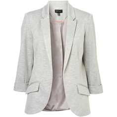 TOPSHOP Ponte Rolled Sleeve Blazer ($35) ❤ liked on Polyvore featuring outerwear, jackets, blazers, topshop, tops, grey marl, grey jacket, gray jacket, grey blazer и topshop jacket