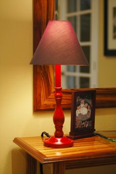 old, wood lamp to new pop of color!