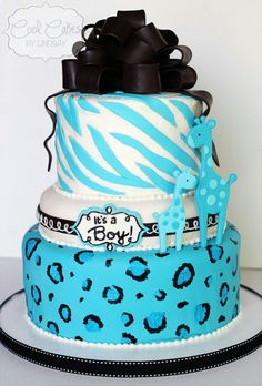 Blue safari baby shower cake