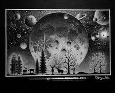 Awesome #nature #illustration by @gerry_ade of a glorious night sky with an enormous full moon clearly visible & discernable planets and a myriad blanket of stars.  While the concept of having a larger moon to enjoy on a warm summer's night is intriguing the effect that such a large celestial body would have so close to the Earth would mess up our enjoyment or many other things. It looks AMAZING and Gerry did a marvelous job with this landscape drawing but I'll settle for a normal nighttime…