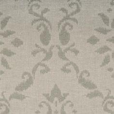 "Azure woven jacquard linen blend with damask sage light green or mint color on cream fabric: scarf swag, curtain panels in 84"", 96"" or extra long 108"" or 120"" inch curtains, fabric by the yard for custom window treatments"