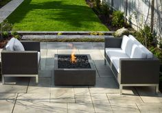 Bento Modern Fire Pit in Charcoal with Lava Rock Topping