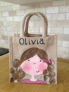 Hand painted girly lunch jute bags