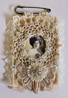 Small fabric and lace brooch