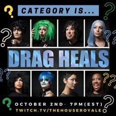 Category Is...Drag Heals! Ocean and Dank usher in the premiere of #DragHeals Season 2 on @OutTV and Amazon with their castmates from the drag documentary series! Friday, October 2nd at 7pm on With support from the ever-incredible @gladdaybookshop Season 2, Documentary, Tv Series, Competition, October, Friday, Healing, Ocean, The Incredibles
