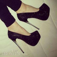 Amazing Cool Fashion Black High Stiletto Heel Platform Shining Pumps.