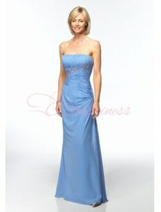 Chiffon Strapless Ruched Bodice With Slim