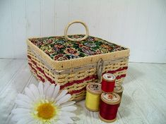 Vintage Natural Wicker & Floral Tapestry Fabric Sewing Basket