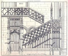 Elevation Of The Staircase Inside The Cathedral Of Notre Dame Dame de Paris
