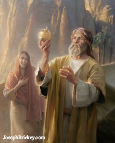Lehi finds the Liahona (the compass) that helps direct his family in the wilderness. The Liahona is a type and a shadow of the words of Christ.