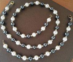 Parure-collier-bracelet-perles-imitation-culture-hematites-ceremonie-fetes-neuve