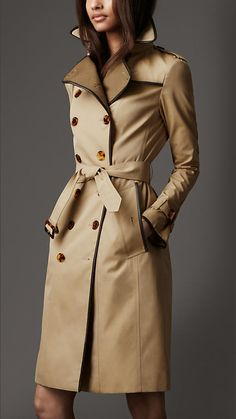Burberry London Long Cotton Gabardine Wool Detail Trench Coat