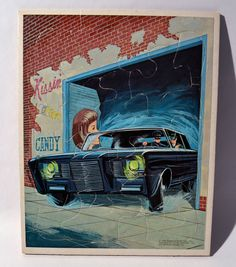 K004. VINTAGE: THE GREEN HORNET with The Black Beauty FRAME TRAY PUZZLE (1966)