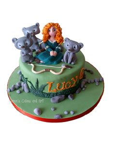 Brave Merida bears brothers cake. https://www.facebook.com/karenscakesandart