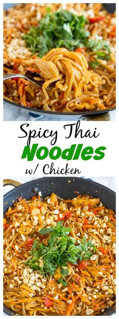 Spicy Thai Noodles with Chicken – a super quick and easy din.- Spicy Thai Noodles with Chicken – a super quick and easy dinner that is on the table in minutes. Full of great Thai flavor with easy to find ingredients! Spicy Recipes, Asian Recipes, Cooking Recipes, Healthy Recipes, Ethnic Recipes, Noodle Recipes, Recipes With Thai Noodles, Thai Food Recipes Easy, Healthy Breakfasts
