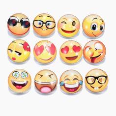 12 Piece Set Emoji Funny Faces Glass Noosa Snap Charm Set 3