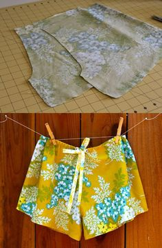 Sewing tutorials, sewing patterns, sewing hacks, sewing crafts, sewing tips Shorts Diy, Sewing Shorts, Sewing Clothes, Flowy Shorts, Barbie Clothes, Sewing Hacks, Sewing Tutorials, Sewing Crafts, Sewing Tips