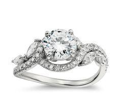 Monique Lhuillier Floral Diamond Engagement Ring in Platinum | Blue Nile