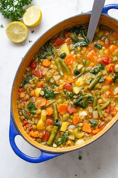Full of vegetables and so easy to make from scratch, this vegetable lentil soup recipe is full of protein, fiber and so much healthier than any canned soup. It's perfect fall weather dining and makes Lentil Vegetable Soup, Curried Lentil Soup, Vegan Lentil Soup, Easy Lentil Soup, Lentil Meals, Healthy Recipes, Healthy Soup, Whole Food Recipes, Vegetarian Recipes
