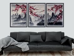 Cherry blossom art, Cherry blossom wall mural, cherry blossom japanese art print set of 3 Cherry Blossom Decor, Cherry Blossom Watercolor, Cherry Blossoms, Mural Wall Art, Abstract Wall Art, Wall Art Prints, Lily Painting, Art Japonais, Watercolor Walls