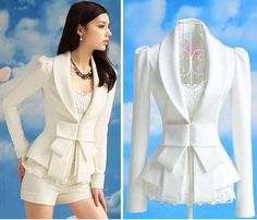 Lady Formal Career Bowknot Blazer Suits Top White S TN3. I love this top!