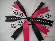 SOCCER  Hot Pink spiked soccer bows on ponytails by Blueskybows, $3.95